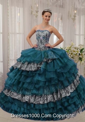 Turquoise Sweetheart Zebra and Organza Quinceanera Dresses with Beading and Layers