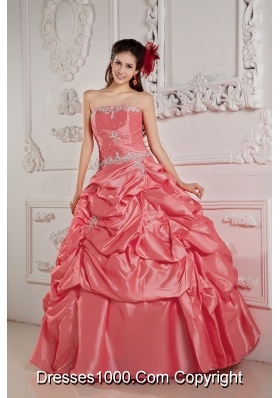 Watermelon Ball Gown Strapless Beading and Pick-ups 2014 New Dresses For Quinceaneras