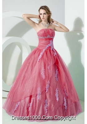 Watermelon Strapless Beading and Embroidery Dresses For a Quince with Appliques