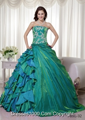 Princess Strapless Taffeta Quinceanera Dresses Gowns with Appliques and Ruffles