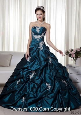Princess Strapless Taffeta Turquoise Quinceanera Dresses with Appliques and Pick-ups