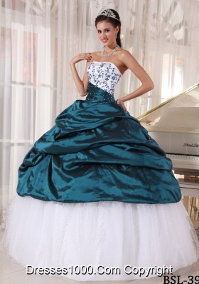 Beautiful Strapless Puffy Turquoise Sweet Sixteen Dresses with Embroidery