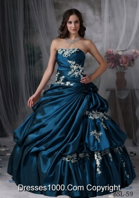 Cheap Puffy Strapless Appliques Quinceanera Dresses for Military Ball