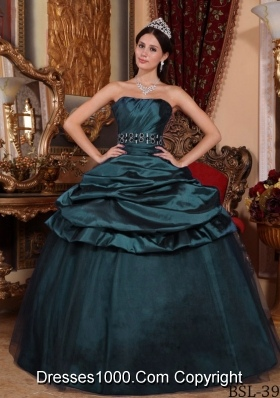 Cheap Turquoise Sweet 15 Dresses with Strapless Beading