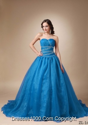 Elegant Princess Court Train Beading Organza Quinceanea Dress with Sweetheart
