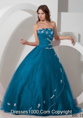New Style Strapless Long Quinceanera Dresses with Appliques and Beading