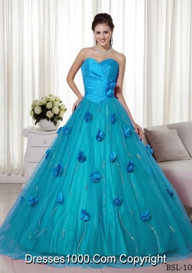 Pretty A-line Sweetheart Brush Train Quinceanera Dress with Hand Made Flowers