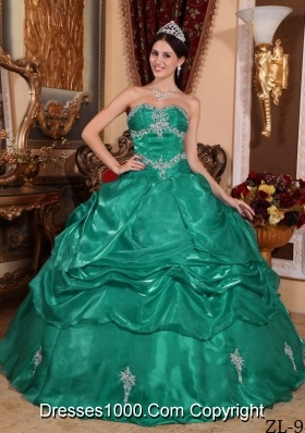 Pretty Turquoise Sweet Sixteen Dresses with Appliques Strapless