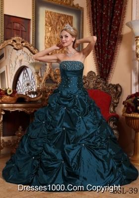 Princess Strapless Taffeta Quinceneara Dresses with Beading