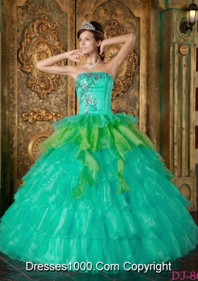Princess Strapless Turquoise Sweet 16 Dresses with Ruffles