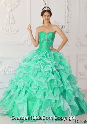 Princess Sweetheart Organza Beading and Ruffles Dresses For a Quinceanera