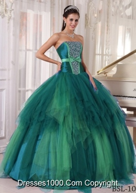 Puffy Strapless Turquoise Quincianera Dresses with Beading