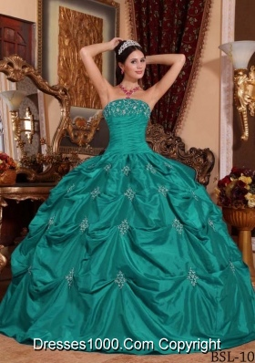 Puffy Turquoise Sweet Sixteen Dresses with Appliques Strapless