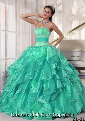 Strapless Organza Appliques Sweet 15 Dresses with Ruffles and Appliques