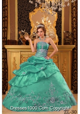 Strapless Organza Turquoise Quinceanera Dress with Embroidery and Pick-ups