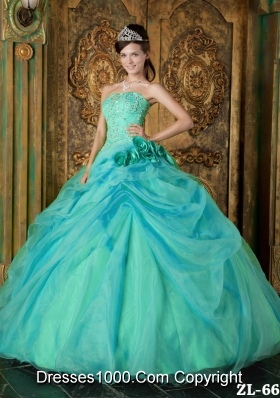 Strapless Organza Turquoise Quinceanera Dresses with Beading