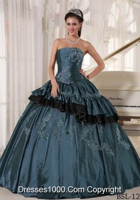 Strapless Taffeta Quinceaneras Dress with Beading and Embroidery