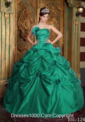 Strapless Taffeta Turquoise Quinceanera Dresses with Flowers