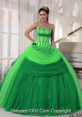 Strapless Tulle Quinceanera Gown Dresses with Hand Made Flowers