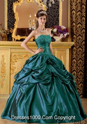 Strapless Turquoise Quinceanera Dress with Appliques and Flowers