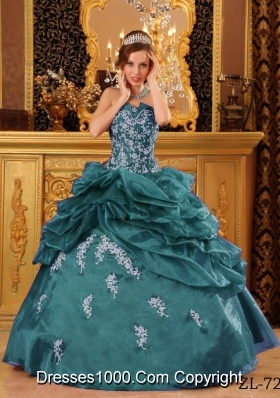 Strapless Turquoise Quinceanera Gowns with Appliques and Pick-ups