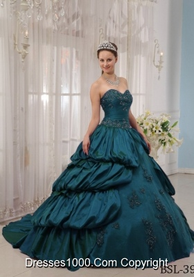 Sweetheart Court Train Appliques Turquoise Quinceanera Dresses with Pick-ups