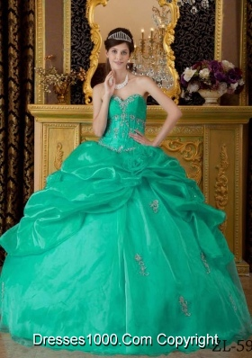Sweetheart Organza Turquoise Quinceanera Dresses with  Appliques and Pick-ups