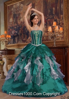 Sweetheart Organza Turquoise Quinceanera Dresses with Beading