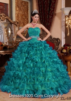 Sweetheart Organza Turquoise Quinceanera Dresses with Ruffles and Beading