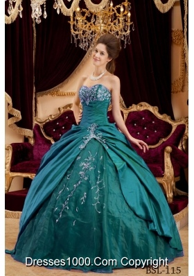 Sweetheart Taffeta and Tulle Turquoise Quinceanera Dresses with Appliques
