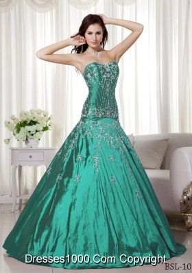 Sweetheart Taffeta Turquoise Quinceanera Dress with Beading and Embroidery
