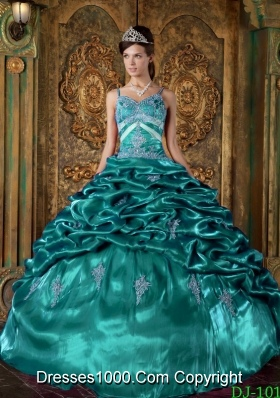 Taffeta Beading and Pick-ups Turquoise Quinceanera Gowns with Spaghetti Straps