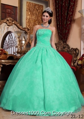Turquoise Puffy Organza Quinceanera Gowns with Appliques