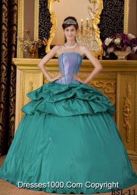 Turquoise Quinceanera Gowns Dress with Strapless Appliques and Pick-ups
