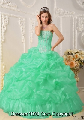 Turquoise Quinceanera Gowns with Beading and Pick-ups Strapless Organza