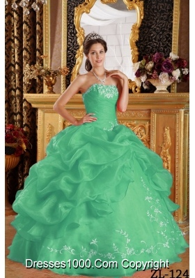 Turquoise Strapless Organza Quinceaneras Dress with Pick-ups and Embroidery
