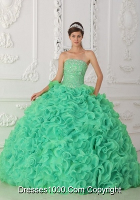 Turquoise Strapless Organza Sweet Sixteen Dresses with Beading and Ruffles