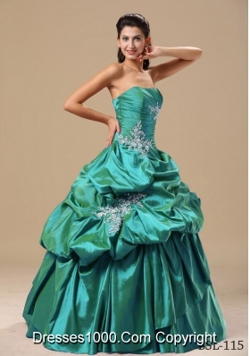 Turquoise Strapless Sweet Sixteen Dresses with Pick-ups and Appliques