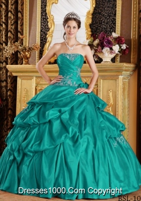 Turquoise Strapless Taffeta Quincenera Dresses with Appliques
