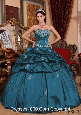 Turquoise Sweet 16 Dresses with Appliques and Pick-ups Sweetheart