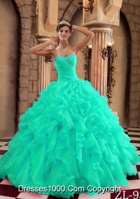 Turquoise Sweet Sixteen Dresses with Ruffles and Appliques Sweetheart