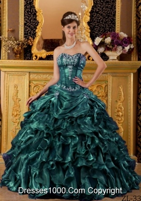 Turquoise Sweetheart Organza Sweet 16 Dresses with Ruffles and Appliques
