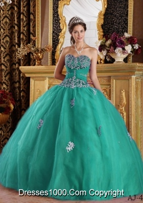 Turquoise Sweetheart Quinceanera Gown Dresses with Appliques