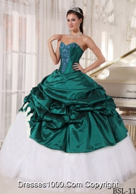Turquoise Sweetheart Taffeta and Tulle Quinceanera Dresses with Appliques and Pick-ups