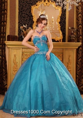 2014 Ball Gown Sweetheart Appliques Quinceanera Gowns in Teal