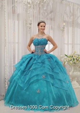 2014 Cheap Puffy Strapless Beading Organza Quinceanera Dresses