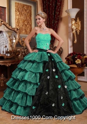 2014 Fashionable Strapless Turquoise and Black Quinceanera Gowns with Layers