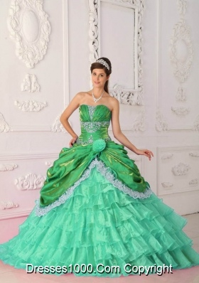 2014 New Style Strapless Sweet 15 Dresses with Appliques and Layers