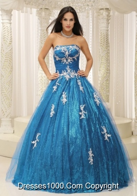 2014 Pretty A-line Quinceanera Dresses With Appliques Teal Paillette Over Skirt