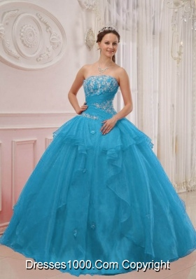 2014 Pretty Puffy Strapless Floor-length Appliques Quinceanera Gowns